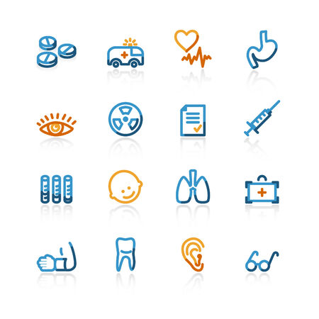 color contour medical icons on the white background Vector