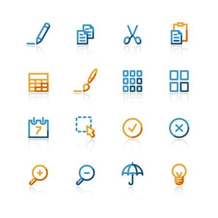 thumbnails: color contour publish icons on the white background Illustration