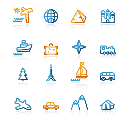 color contour travel icons on the white background Stock Vector - 4525467