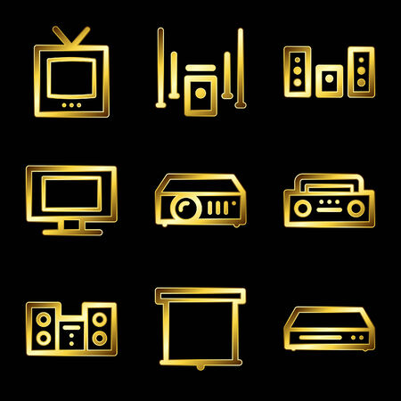 Gold luxury audio video web icons V2 Vector