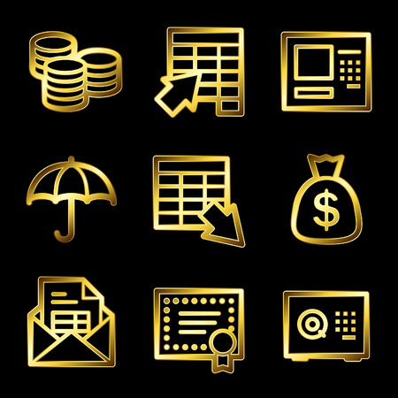 Gold luxury banking web icons V2 Vector