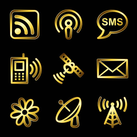 buttons vector: Gold luxury communication web icons V2 Illustration