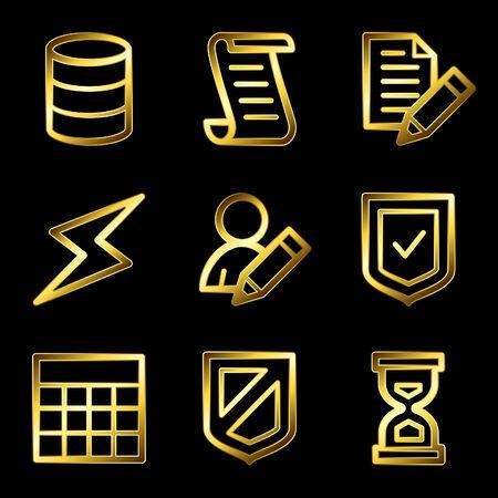 Gold luxury database web icons V2 Vector
