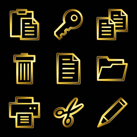 Gold luxury documents web icons V2 Vector
