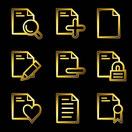 Gold luxury documents web icons V2 set 2 Vector