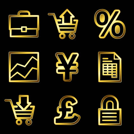 Gold luxury e-business web icons V2 Vector