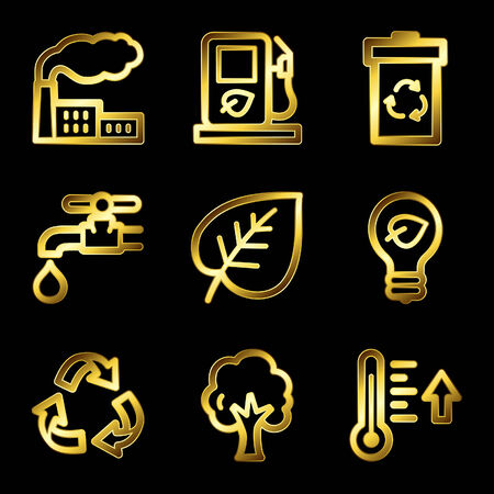 Gold luxury eco web icons V2 Stock Vector - 4525456