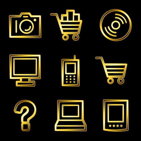Gold luxury electronics web icons V2 Vector