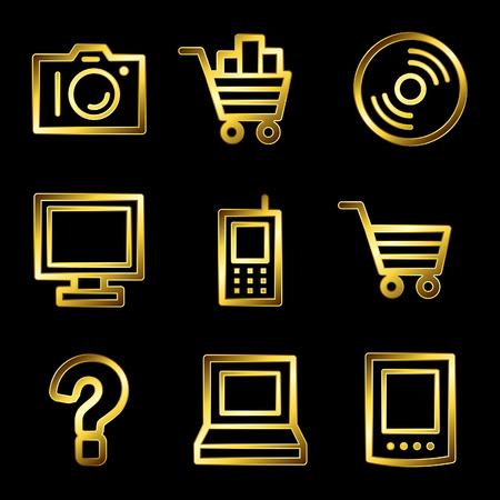 Gold luxury electronics web icons V2 Vector