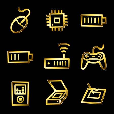 Gold luxury electronics web icons V2 set 2 Stock Vector - 4525437
