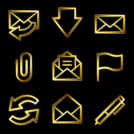 edit icon: Gold luxury e-mail web icons V2