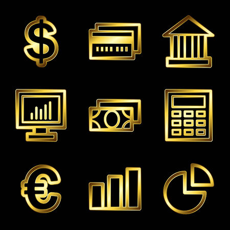 Gold luxury finance web icons V2 Vector
