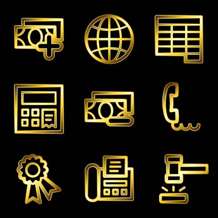 delete button: Gold luxury finance web icons V2 set 2
