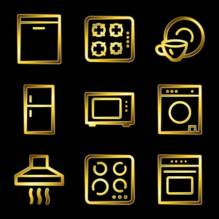 microwave oven: Gold luxury home appliances web icons V2