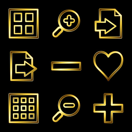 plus minus: Gold luxury image viewer web icons V2 Illustration