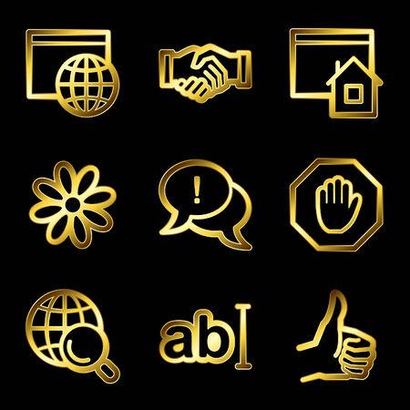 Gold luxury internet communication web icons V2 Illustration