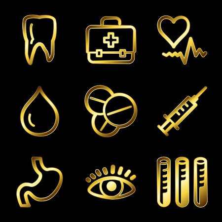 Gold luxury medicine web icons V2 Vector