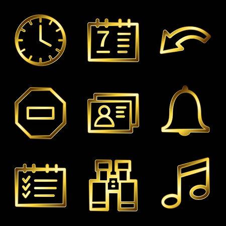 Gold luxury organizer web icons V2 Stock Vector - 4525431