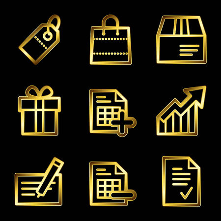 Gold luxury shopping web icons V2 Vector