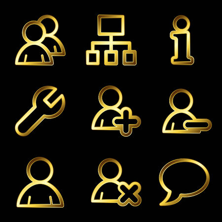 delete button: Gold luxury users web icons V2