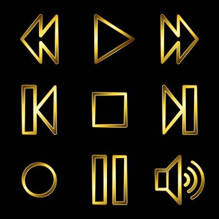 Gold luxury walkman web icons V2 Vector
