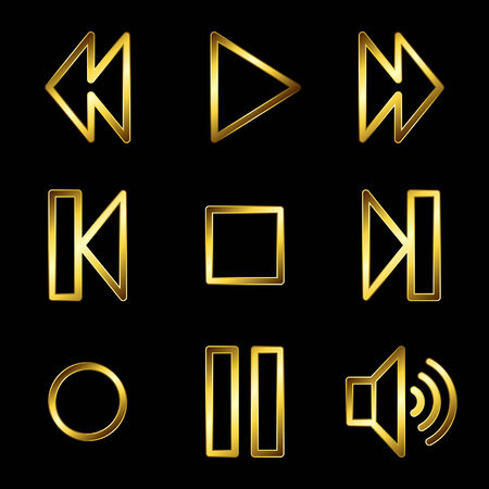 Gold luxury walkman web icons V2 Vector