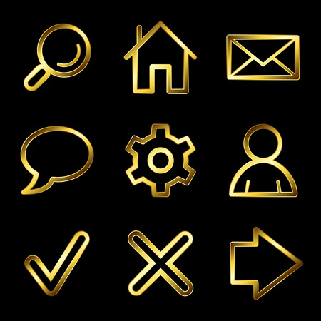 Gold luxury basic web icons V2 Stock Vector - 4525421