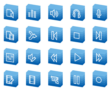 Audio video edit web icons, blue box series Vector