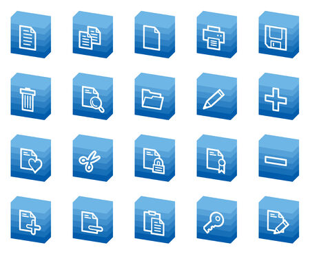 Document web icons, blue box series Vector