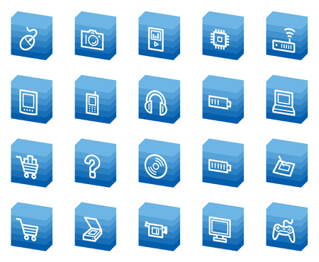 Electronics web icons, blue box series Vector