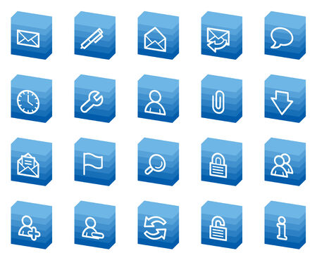 E-mail web icons, blue box series Vector