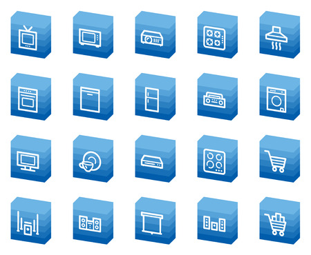 Home appliances web icons, blue box series Stock Vector - 4685254