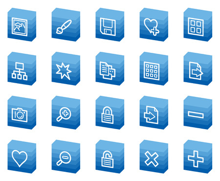 Image library  web icons, blue box series Stock Vector - 4685249