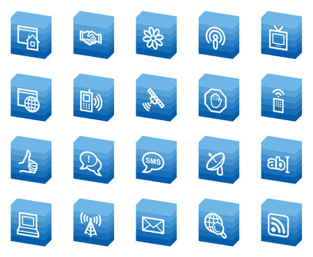 Internet web icons, blue box series Vector