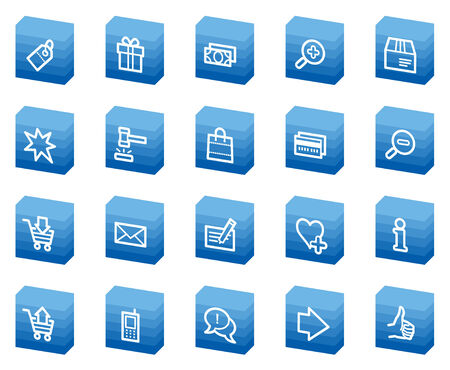 Shopping web icons, blue box series Vector