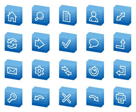 Basic web icons, blue box series Vector