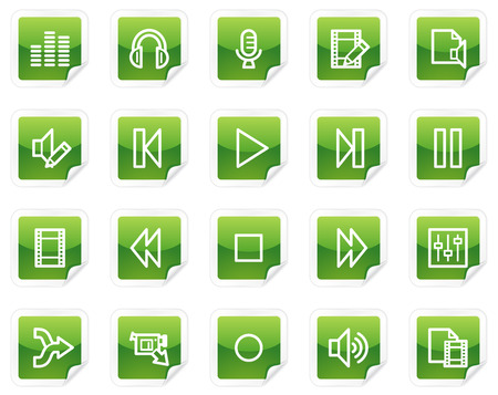 Audio and video edit web icons, green sticker series Vector