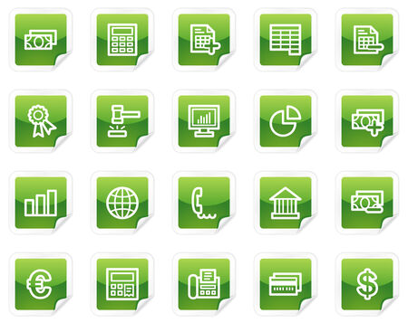 Banking web icons, green sticker series Vector