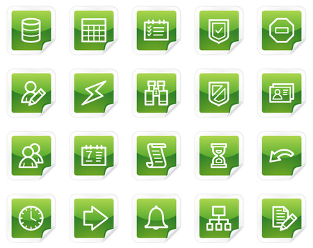 Database web icons, green sticker series Vector