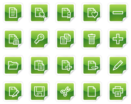 Document web icons, green sticker series Vector