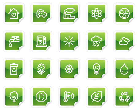 Ecology web icons, green sticker series Stock Vector - 4685270