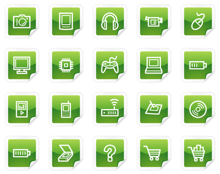 Electronics web icons, green sticker series Vector