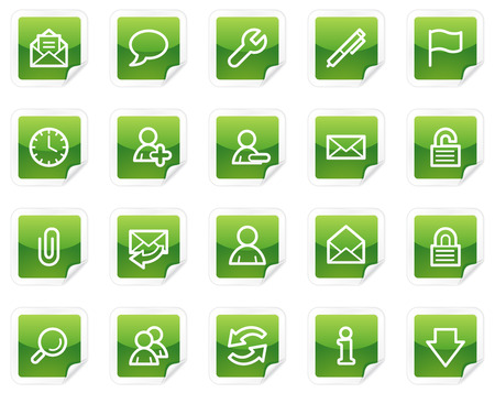 E-mail web icons, green sticker series Vector