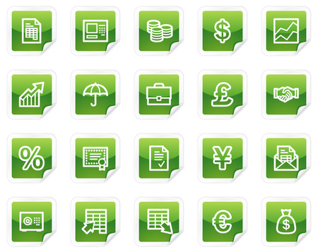Finance web icons, green sticker series Vector