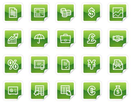 Finance web icons, green sticker series Stock Vector - 4685269