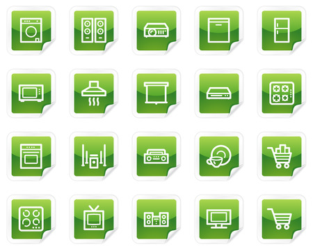 gas laundry: Home appliances web icons, green sticker series