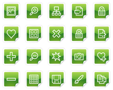 Image library web icons, green sticker series Vector