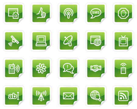 Internet web icons, green sticker series Vector