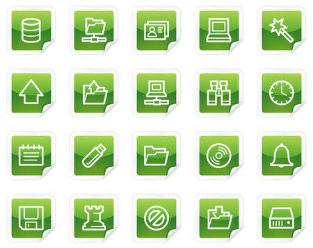 Server web icons, green sticker series Vector