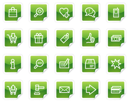 Shopping web icons, green sticker series Vector